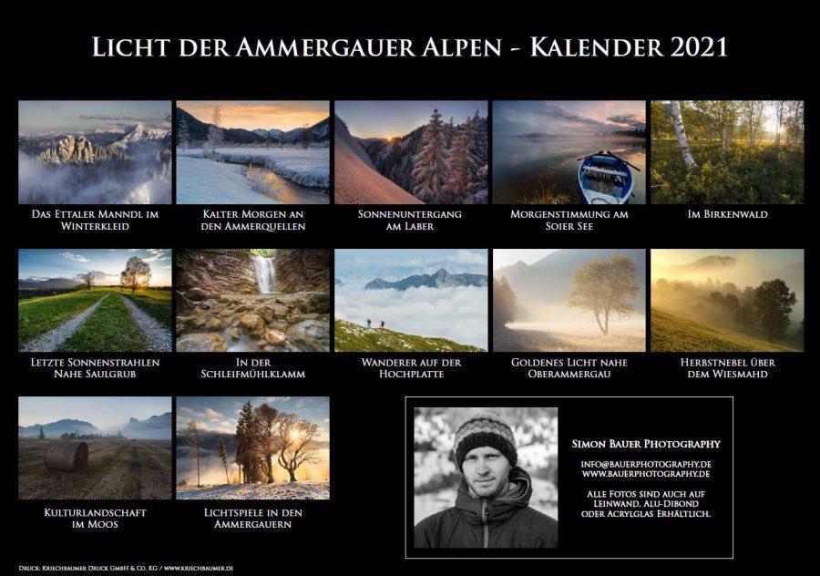 Kalender 2021 – Licht der Ammergauer Alpen